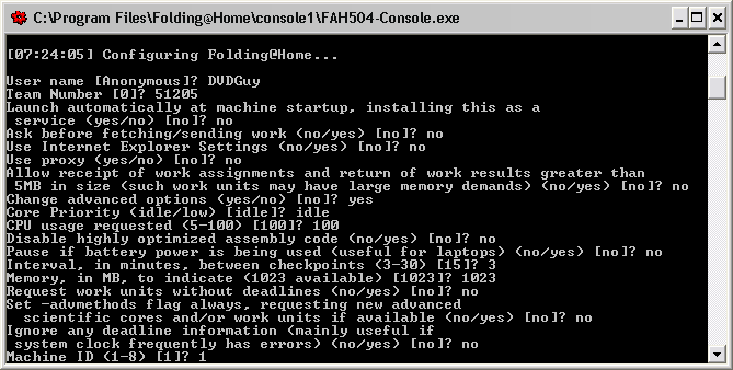 Folding@Home text-only console: Configuration options