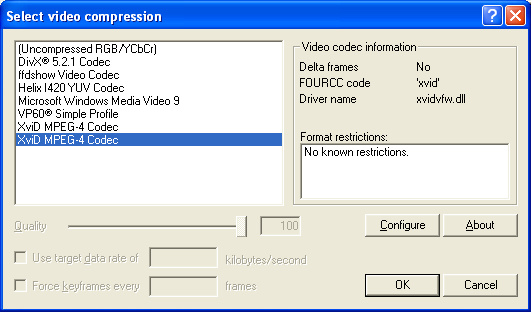 VirtualDub: Video compression codec list